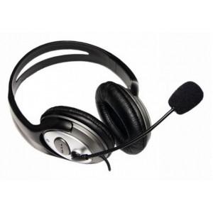 Słuchawki stereo z mikrofonem AZUSA nagłowne, czarne, jack 3.5mm
